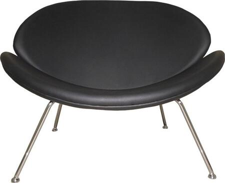Fine Mod Imports FMI10090BLACK Leather Lounge with Metal Frame in Black