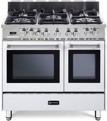 """Verona VEFSGE365DW 36"""" Dual Fuel Freestanding Range with Sealed Burner Cooktop, 2.4 cu. ft. Primary Oven Capacity, Storage in White"""