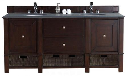 """James Martin Madison 72"""" Double Vanity with 2 Doors, 2 Shelves, 2 Drawers, 2 Sinks Included, Granite Top, Satin Nickel Hardware, White Poplar and Plywood Materials in Burnished Mahogany Color"""