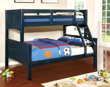 Furniture of America Prismo II Collection CM-BK608F-BL-BED Twin/Full Bunk Bed with Attached Ladder, 15 PC Slats Top and Bottom, Solid Wood, Wood Veneer and Others
