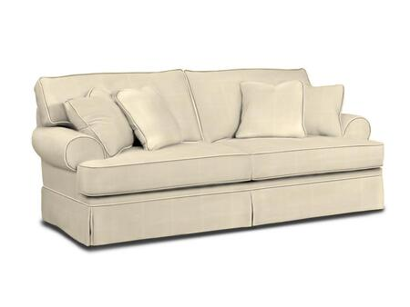 """Broyhill Emily 62623COLOR 90"""" Wide Sofa with 4 Pillows, Rolled Arms and Pleated Skirt Bottom in"""