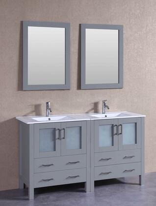"Bosconi AGR230UX XX"" Double Vanity with White Ceramic Top, Integrated Sink, F-S01 Faucet, Mirror, 4 Doors and X Drawers in Grey"