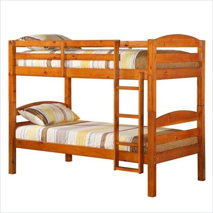 Walker Edison Solid Wood Twin over Twin Bunk Bed with Full Length Guardrails and Integrated Ladder in