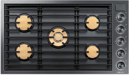 "Dacor DTG36M955Fx 36"" Modernist Series Gas Cooktop with 5 Dual-stack Sealed Burners, Dishwasher Safe Illumina Knobs, Diamond-like Carbon Finish, and iQ Kitchen App, in"