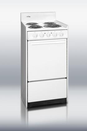 """Summit WEM110 20""""  White Electric Freestanding Range with Coil Element Cooktop, 2.46 cu. ft. Primary Oven Capacity, Storage"""