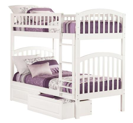 Atlantic Furniture Richland AB6412 Twin Over Twin Bunk Bed With Raised Panel Bed Drawers