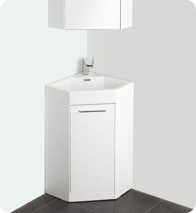 "Fresca Coda Collection FVN508XWH 1X"" White Modern Corner Bathroom Vanity with Soft Closing Door and Faucet"