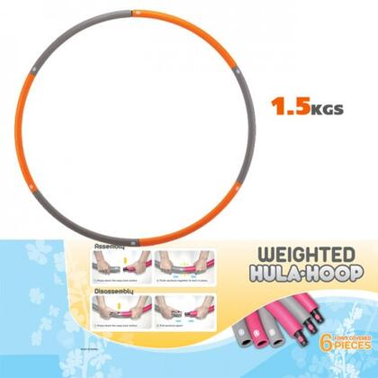 Jasmine Fitness JAS-100-HULA Weighted Hu-La Hoop with Foam Covers, Compact for Storage, Extra Wide and Extra Weighted, in Colorful Grey