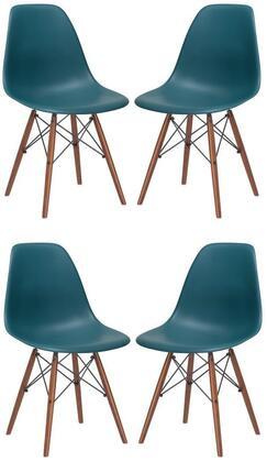 EdgeMod EM105WALTEAX4 Vortex Series Modern Wood Frame Dining Room Chair