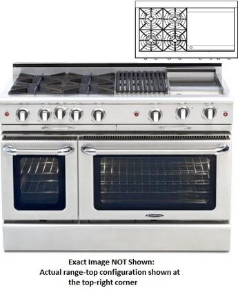 "Capital COB484G24N 48"" Culinarian Series Gas Freestanding Range with Open Burner Cooktop, 4.6 cu. ft. Primary Oven Capacity, in Stainless Steel"