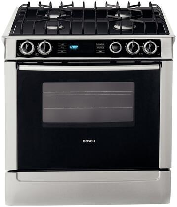 "Bosch HDI7052U 30"" 700 Series Slide-in Dual Fuel Range with Sealed Burner Cooktop Storage 4.6 cu. ft. Primary Oven Capacity"