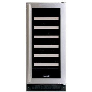 """Marvel 30WCMR 15"""" Wine Cellar with 23-Bottle Capacity Including Magnums, 6 Extendable Racks, Amber LED Display, Right Hinge Door Opening"""