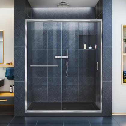 DreamLine Infinity Z Shower Door 60 Chrome Black Base
