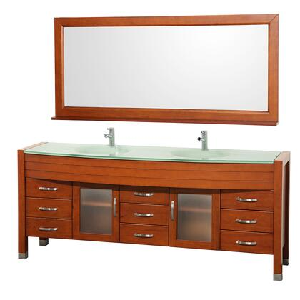 """Wyndham Collection WCV220078 Daytona 78"""" Double Vanity with 71"""" Mirror, Nine Drawers, Top and Dual Sinks"""
