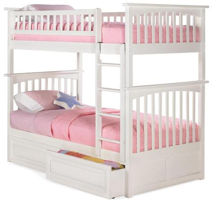 Atlantic Furniture AB551 Columbia Bunk Bed Twin Over Twin with Raised Panel Bed Drawers