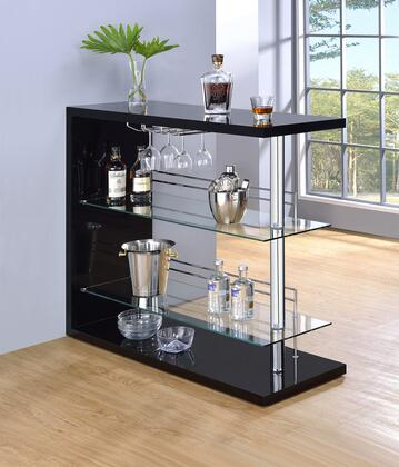 """Coaster 10016 47"""" Bar Unit with Rectangular Table Top, 2 Tempered Glass Shelves, Stemware Racks and Chrome Metal Accents in"""