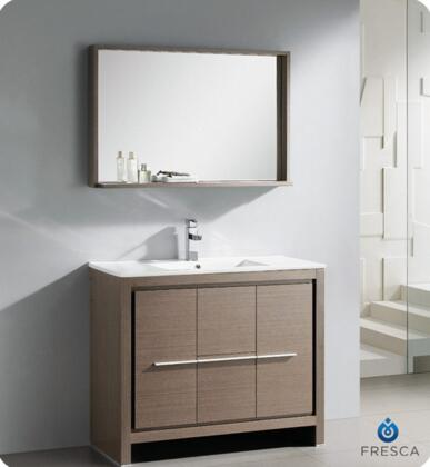 """Fresca Allier Collection FVN8140 40"""" Modern Bathroom Vanity with Mirror, Soft Closing Drawer and Integrated Ceramic Countertop and Sink in"""