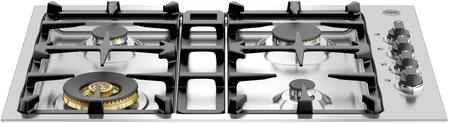 Bertazzoni QB30M400 Master Series Cooktop with 4 Sealed Burners, Dual Power Burner, Seamless Surface and One-Touch Ignition in Stainless Steel