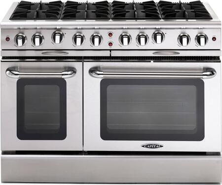 """Capital MCOR488L 48"""" Culinarian Series Gas Freestanding Range with Open Burner Cooktop, 4.9 cu. ft. Primary Oven Capacity, in Stainless Steel"""
