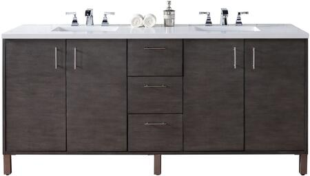 "James Martin Metropolitan Collection 850-V72-SOK- 72"" Silver Oak Double Vanity with Four Soft Close Doors, Three Soft Close Drawers, Chrome Hardware and"