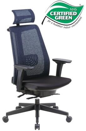 "Boss B6990 38"" Contemporary Executive Chair with Unique Design, Mesh Fabric Seat and Back, Adjustable Height Arms, Seat Slider, 27"" Nylon Base and Heavy Duty Casters in Black"