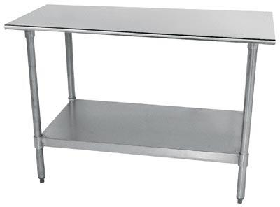 Advance Tabco TT-24 Lite Series Work Table with Galvanized Steel Undershelf and Legs, Flat Top and Plastic Bullet Feet