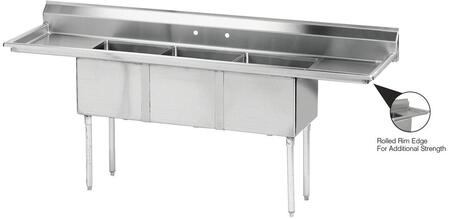 Three Compartment Sink with Left and Right Side Drainboard
