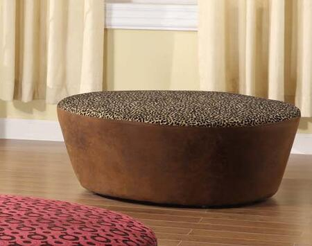 Armen Living LC6022OTLEWR Hostess Series Contemporary Faux Leather Ottoman