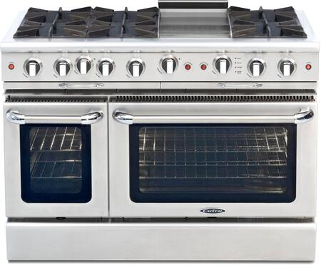 "Capital CGSR484G2L 48"" Culinarian Series Gas Freestanding Range with Open Burner Cooktop, 4.6 cu. ft. Primary Oven Capacity, in Stainless Steel"