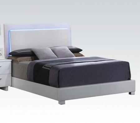 Acme Furniture Lorimar Collection Bed with Chrome Legs, LED Headboard Lights, Low Profile Footboard, Rubberwood Materials and Bycast PU Leather Upholstery in White Color