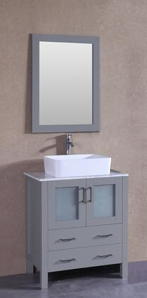 "Bosconi AGR130RCCMX XX"" Single Vanity with Carrara Marble Top, Rectangle White Ceramic Vessel Sink, F-S02 Faucet, Mirror, 2 Doors and X Drawers in Grey"