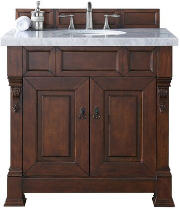 "James Martin Brookfield Collection 147-114-5581- 36"" Warm Cherry Single Vanity with Two Soft Closing Doors, Backsplash, Hand Carved Filigrees and"