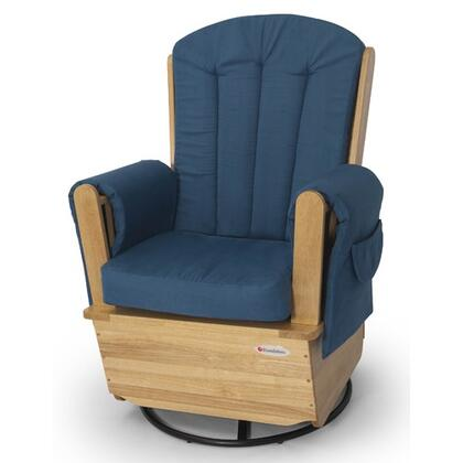 Foundations 4302XXX SafeRocker Series Standard Glider Rocker with Blue Upholstery and X Frame