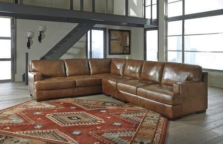 Signature Design by Ashley Vincenzo 30401SEC3PC 3-Piece Leather Match Sectional Sofa with Loveseat, Armless Chair and Sofa in Nutmeg Color
