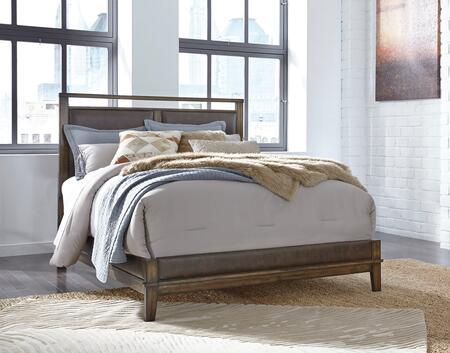 Milo Italia Larsen Collection BR-603PANEL X Size Panel bed with Upholstered Headboard, Open Cap Rail Design and Wood Grain Details in Brown