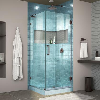 DreamLine Unidoor Lux Shower Enclosure RS30 30D 30RP 06 Blue Tile
