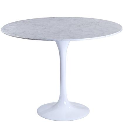 "Modway EEI-512 Lippa 40"" Marble Dining Table with Solid Marble Top, Fiberglass Base, Scratch and Chip Resistant Finish"