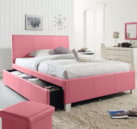 Standard Furniture 607XXA Fantasia Twin Bed with Trundle and Faux Leather Upholstery in XXX