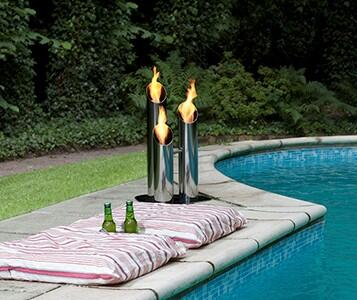 Bio-Blaze BB-P Pipes Outdoor Bio Ethanol Fireplace with 1 Adjustable Round Burner, 6824 BTU Heat Capacity, Extinguish Tool and Stainless Steel Construction