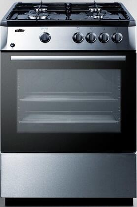 """Summit PRO24 24"""" Range with 4 Sealed Sabaf Burners, Electronic Ignition, Continuous Grates, Push-To-Turn Controls, Slide-Out Oven Rack, in"""