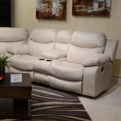 """Catnapper Catalina Collection 77"""" Reclining Console Loveseat with Cup Holders, Designer Arm Frame, European Inspired and Valentino Bonded Leather Touch Upholstery"""