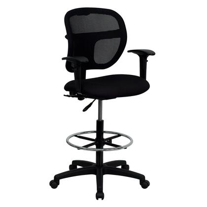 "Flash Furniture WL-A7671SYG-XX-AD-GG 24.25"" Mid-Back Mesh Drafting Stool with 3"" Thick Foam Padded Seat, Built-In Lumbar Support, Height Adjustable Chrome Foot Ring, and Dual Wheel Casters"