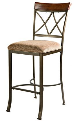 Powell 69743X Hamilton Bar Stool with Brushed Faux Medium Cherry Wood Accent, Diamond Pattern 100% Polyester Upholstery and Footrest in Matte Pewter and Bronze Metal