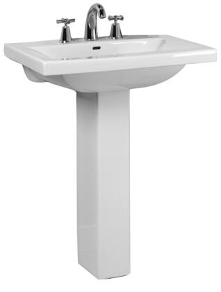 """Barclay 3-27 Mistral 650 Pedestal Lavatory, with Overflow, 5"""" Basin Depth, and Vitreous China Construction, in White"""