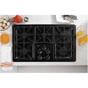 "GE Profile PGP966 36"" Gas Cooktop with 5 Sealed Burners, PowerBoil 15,000 BTU Burner, Precise Simmer Burner and Dishwasher-Safe Deluxe Matte-Cast Grates"