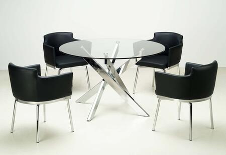 Chintaly DUSTY5PC DUSTY DINING 5 Piece Set - Clear Glass Round Glass Dining Table with 4 Club Style Swivel Arm Chairs