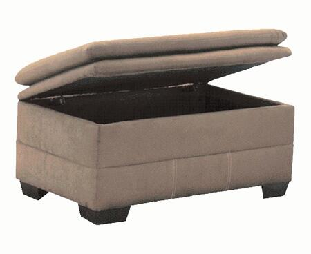 Acme Furniture 503O Lucille Ottoman with Storage, Pillow Top Seats, Baseball Stitching, High-Density Foam Cushions and Microfiber Upholstery in