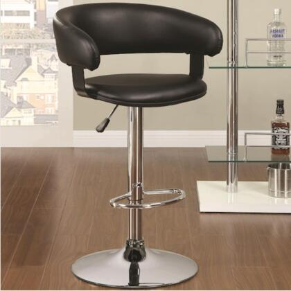 Coaster 12209 Adjustable Bar Stool with Footrest, Rounded Seat Back, Upholstered Seat and Adjustable Leveler in Chrome Finish
