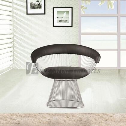 Fine Mod Imports FMI9229BLACK Libo Series Decorative Vinyl Steel Wire Frame Accent Chair