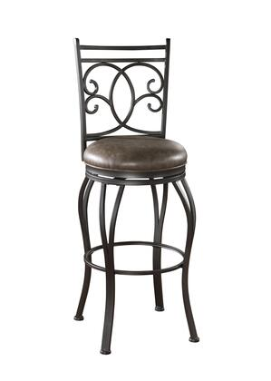 American Heritage Nadia Series 1XX1928COC Traditional Stool with Full Bearing Swivel, Adjustable Leg Levelers, and Designer Back Pattern Finished in Coco with Coco Bonded Leather Seat